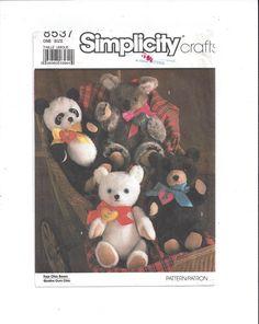 Simplicity 8537 Pattern for 4 Chic Bears, Transfers, 1988, FACTORY FOLDED, UNCUT, Crafts, Vintage Pattern, Panda, Koala, Teddy, Polar Bear by VictorianWardrobe on Etsy