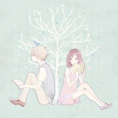 love Illustration art cute couple tree anime kawaii stars manga lovely pink pastel Reading shoujo manga girl credit to owner pastel blue manga couple manga boy