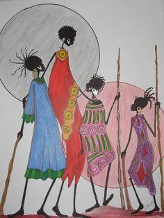 "R.H. Art Studio & Gallery - AFRICAN ART PAGE 2 - ""FAMILY"" Afro Painting, African American Artwork, African Paintings, Africa Art, Painting Gallery, Creative Artwork, Native Art, Whimsical Art, Tribal Art"