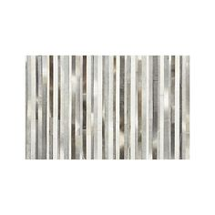 Fonda Grey Rug  | Crate and Barrel  This natural hide rug wears very well.