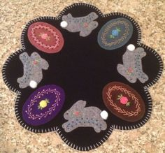 Primitive Wool Penny Rug~Easter Eggs~Easter Bunnies~Table Centerpiece