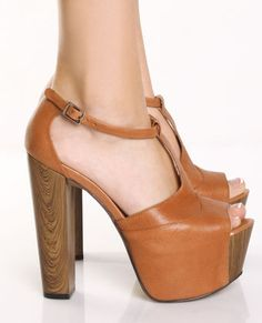 Jessica Simpson Dany Light Tan T Strap Platform Heels, i need these now