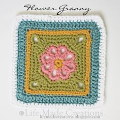 Life Made Creations: a slew of grannies! ❀ Flower Granny Square ❀ Love these colors!  Pattern here: http://www.ravelry.com/patterns/library/flower-granny-square