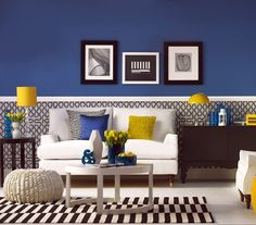 black white blue and yellow could be a cool color scheme - Blue Color Living Room