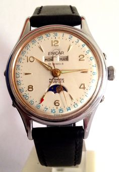 ★★★ ENICAR Triple Date Moon Automatic 1940 s Vintage Rare Swiss - S. Steel ★★★