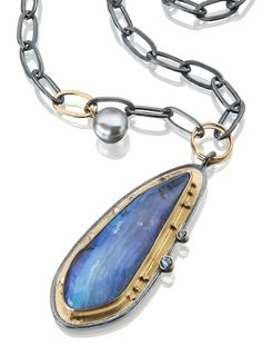 Boulder opal necklace with faceted aquamarine and sapphire, gray pearl on chain. www.sydneylynch.com