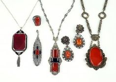 A Carnelian, Onyx, And Marcasite Pendant Necklace. Lot 162-7175