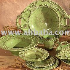 Image detail for -... larger image: Green TUSCAN Horchow 16pc DINNERWARE SET BAROQUE DESIGN
