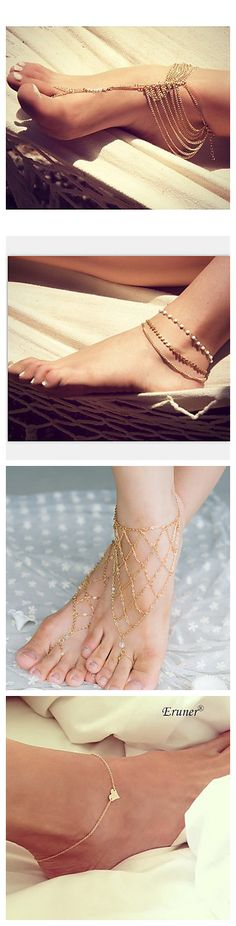 Elegant anklets! Ankle is the most sexy body part in many people's opinion. Get good decoration for you sexy ankle!