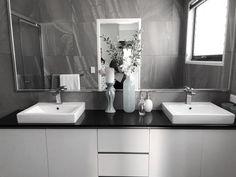 Twin sinks in master ensuite Open Living Area, Sinks, Double Vanity, Twin, Minimalist, Bathroom, Home, Washroom, Utility Room Sinks