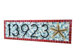 House Number Plaque with Starfish -- Beach House Address Sign -- Custom Mosaic $95.00