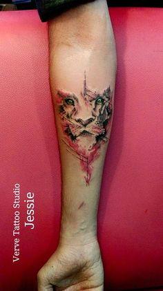 lion abstract tattoo realism tattoo verve tattoo studio