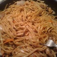 Great base lo mein recipe - add in whatever veggies/meat you want and 1 1/2 tsp corn starch to thicken a little. one reviewer said it's as close to restaurant style as you can get!