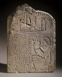 Funerary stela of Anhorkhawi, shown bottom right. Limestone; 16 7/8 x 11 13/16 x 3 1/16 inches; The text is a prayer to the setting sun. Dynasty XX; excavated at Deir el-Medinah. Brooklyn Museum of Art, New York.
