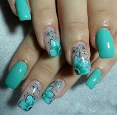 15 Pretty Floral Nails-Ideen für diesen Sommer - Nail art i like - Nail Art Ideas Turquoise Nail Designs, Gel Nail Designs, Beautiful Nail Designs, Beautiful Nail Art, Manicure And Pedicure, Gel Nails, Cute Nails, Pretty Nails, Flower Nail Art