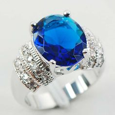 Lubanise Sterling Silver Plated Rings Sapphire simulated