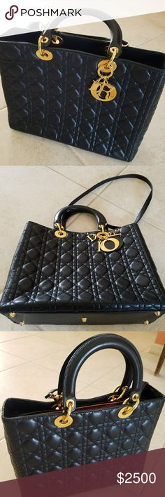 8741110e42c Lady Dior Cannage lambskin handbag This beautiful authentic black Christian  Dior