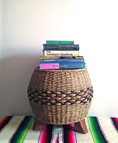 Vintage Basket Woven Stool or Ottoman by Houseworking on Etsy