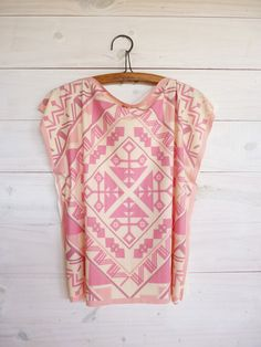 Blush pink Tunic top ethnic style tshirt tribal by texturable, $55.00
