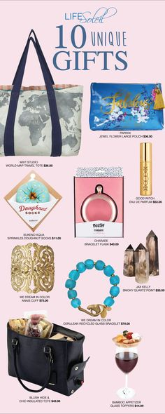 10 Unique Gifts for your Stylish Girlfriend. Perfume, crystals, jewelry, wine, totes and more! #uniquegifts #bestgiftever #tote #lifesoleil #perfume