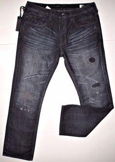 Buffalo David Bitton men's indigo ripped jean size 33x32 style SIX slim straight #BuffaloDavidBitton #SlimStraight