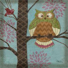 Pastel Owls III Paul Brent Art Print 12x12