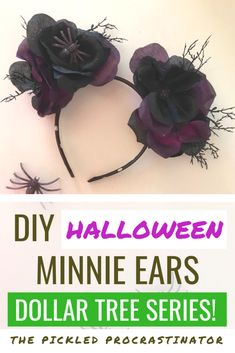 Halloween is almost here, so it's time for DIY Halloween Minnie ears! And, Minnie ears made from just a few items at your local Dollar Tree. Disney Halloween Ears, Disneyland Halloween, Diy Halloween, Disney Fun, Disney Style, Walt Disney, Disney Theme, Disneyland Resort California, Disney Diy Crafts