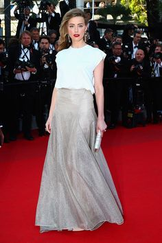 Amber Heard, Festival de Cannes 2014. La combinación que puso de moda Rania de Jordania en la boda de los Príncipes de Asturias, continúa siendo una apuesta segura.