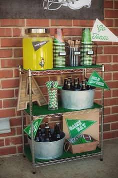 Drink cart from a Tailgate Football Birthday Party via Kara's Party Ideas Football First Birthday, Sports Themed Birthday Party, Soccer Party, First Birthday Parties, Sports Party, 21 Birthday, Birthday Games, Birthday Ideas, Football Banquet
