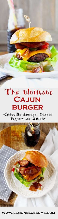 The Ultimate Cajun Burger is packed full of Cajun-Creole goodness! A moist Cajun spiced beef patty is topped with gooey cheddar cheese, sauted onions, bell peppers and Andouille sausage. A true explosion of flavors! via @https://www.pinterest.com/lmnblos