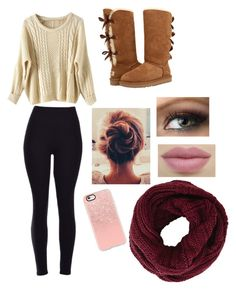 """""""Cozy"""" by kristenbreannn on Polyvore featuring WithChic, UGG Australia, Casetify and BCBGMAXAZRIA"""