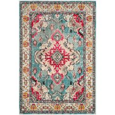 Safavieh Eloise Light Blue Area Rug Light Blue/fuchsia 4 X 2'2 ($25) ❤ liked on Polyvore featuring home, rugs, textured rugs, woven rugs, safavieh, fuschia area rug and weave rug
