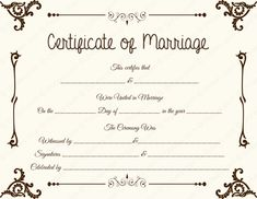Fake Floral Corner Marriage Certificate Template
