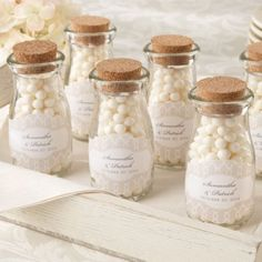 Personalized Vintage Milk Jar Favors - add your own candy or colorful treats to match your wedding colors.  Can also double as wedding decor!