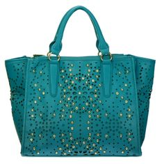 Laser Cut Studded Rhinestone Faux Leather Tote Bag Turquoise