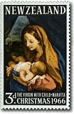 Stamp: Virgin & Child, painting by Carlo Maratta (New Zealand) (Christmas Mi:NZ 842 3d Christmas, Christmas Themes, Commemorative Stamps, Postage Stamp Art, Short Poems, Stamp Catalogue, Children Images, Blessed Mother, Military Art