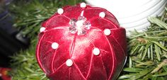 Handmade Quilted Christmas Ball Ornament - Red and pearls Ball Ornaments, Christmas Balls, Pearls, Red, Handmade, Beads, Pearl, Hand Made, Pearl Beads