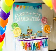 willy wonka party i like the rainbow balloon arch, 6th Birthday Parties, 3rd Birthday, Birthday Wishes, Birthday Ideas, Kid Parties, Candy Theme, Candy Party, Willy Wonka Halloween, Music Themed Parties
