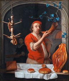 Gabriël Metsu (Dutch, 1629-1667). A Baker Blowing his Horn, ca. 1660-63