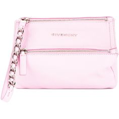Givenchy \'Pandora\' Wristlet Bag ($646) ❤ liked on Polyvore featuring bags, handbags, clutches, strap purse, wristlet handbags, pink handbags, wristlet clutches and wristlet purse