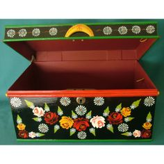 Victorian Metal Deed Box with Handpainted Barge Ware Design - Barge Ware