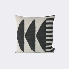 """Kelim Cushion, Black Triangles design by Ferm Living  """"We love this new kelim cushion by Ferm Living. The graphic design will add stylish sophistication to any room in your home. Use it on a chair in your study, the couch in your living room, or as an accent pillow on your bed. Mixing and matching with other pillows from Ferm Living is also endless fun. Dimensions: 50 x 50 cm / 19.7"""""""" x 19.7"""""""" Material: 80% Wool, 20% Cotton Care: Dry Clean Only Note: Listing is for 1 Kelim Pillow"""" .."""