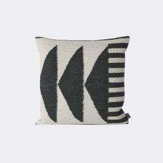 Kelim Cushion, Black Triangles design by Ferm Living