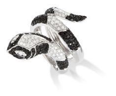 14k White Gold Black Diamond Snake Ring