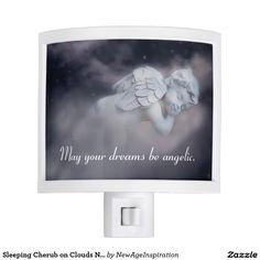 Sleeping Cherub on Clouds Nightlight Nite Lites
