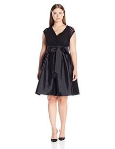 Nice Adrianna Papell Women's Plus Size Tafetta Fit and Flare with Sash