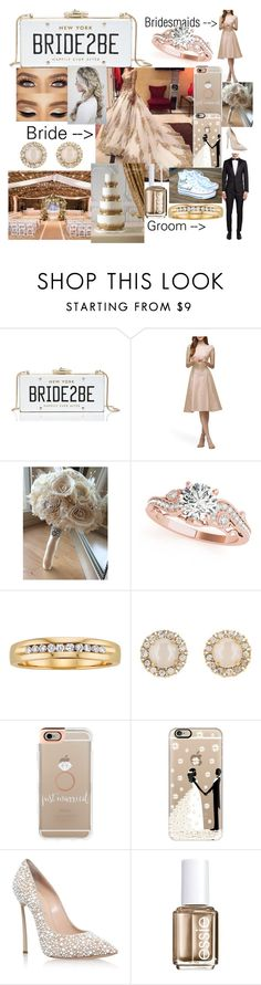 """""""A Golden Wedding ❤💏"""" by rosiecheeksandfreckles ❤ liked on Polyvore featuring Kate Spade, Lela Rose, Sola, Allurez, Casetify, Casadei, Essie and rustic"""