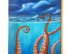 "Sea Monster Painting, Octopus, Clipper Ship, Stormy Sea, Underwater, Oil Paint on 16"" x 20"" Back Stapled Canvas, Original, Not A Print"