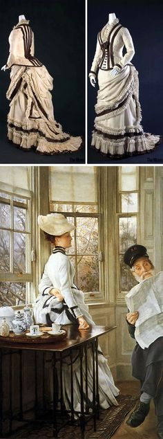 Walking dress, American, ca. French painter James Tissot depicts similar dress in Reading the News 1880s Fashion, Victorian Fashion, Vintage Fashion, Historical Costume, Historical Clothing, Vintage Dresses, Vintage Outfits, Belle Epoch, Fashion Silhouette
