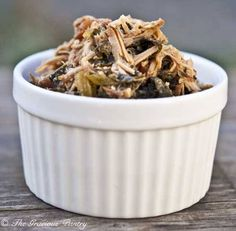 Clean Eating Slow Cooker Pork & Kale - Super easy. I'd add a real onion in there, preferably grilled. And maybe some garlic!